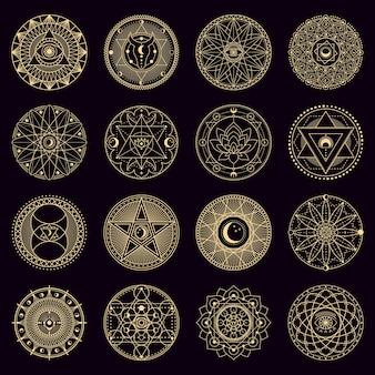 Tajemniczy krąg zaklęć. złote mistyczne alchemiczne czary okrągłe emblematy, znaki geometrii okultystycznej, zestaw ikon magicznych ilustracji koła. duchowe mistyczne ornamenty, astrologia i czary