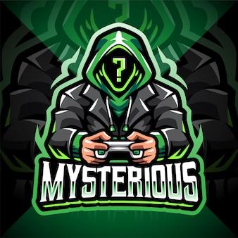Tajemniczy projekt logo maskotki gracza e-sport