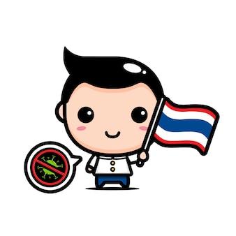 Tajlandia chłopiec z flagą przeciwko wirusowi