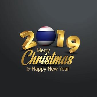 Tajlandia flaga 2019 wesołych świąt typografia