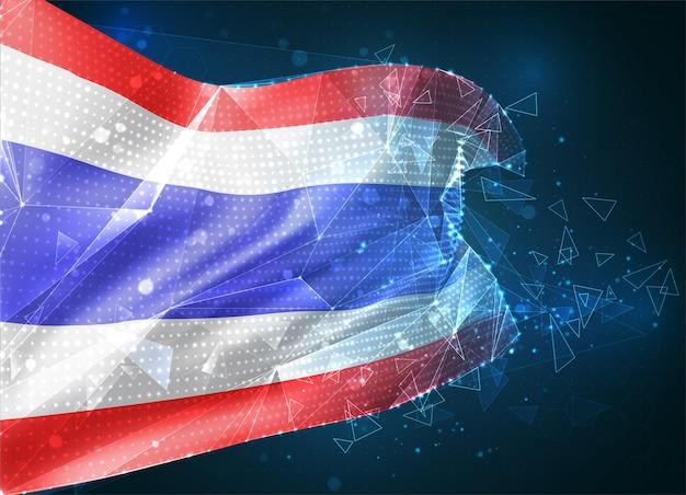 Tajlandia, flaga wektorowa, wirtualny abstrakcyjny obiekt 3d z trójkątnych wielokątów na niebieskim tle