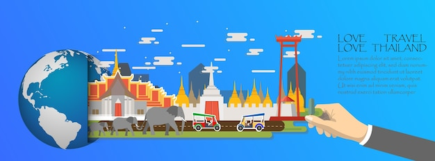 Tajlandia infographic, globalny z punktami zwrotnymi bangkok
