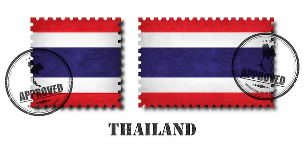 Tajlandia lub tajlandzki flaga wzoru znaczek pocztowy