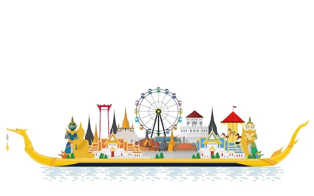 Tajlandia podróżuje z punktem orientacyjnym i miejscem podróży na the royal barge suphannahong