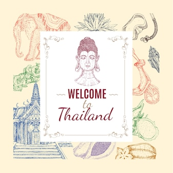 Tajlandia ręcznie rysowane skład