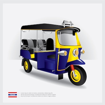Tajlandia tuk tuk samochodowa wektorowa ilustracja