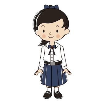 Tajlandzka dziewczyna w ucznia munduru ilustraci.