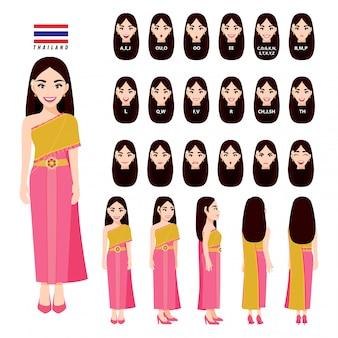 Tajlandzka kobieta w tradycyjnym stroju do animacji. przód, bok, tył, postać 3-4 widoku, synchronizacja ust i pozy. postać z kreskówki płaski