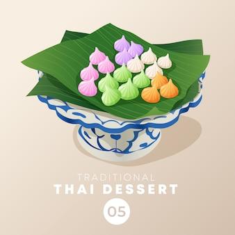 Tajlandzki deser w tradycyjnym tajlandzkim ceramicznym artykuły: ilustracja
