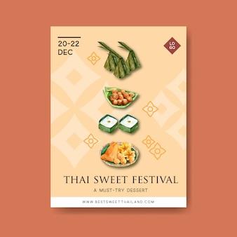 Tajlandzki słodki plakatowy projekt z puddingiem, złota nici ilustraci akwarela.
