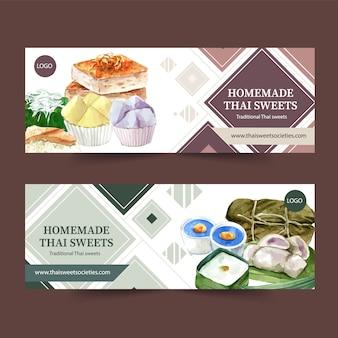 Tajlandzki słodki sztandaru projekt z puddingiem, kleista ryżowa akwareli ilustracja.