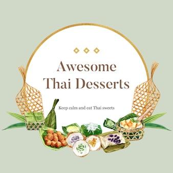 Tajlandzki słodki wianek z budyniem, lepka ryżowa akwarela ilustracja.