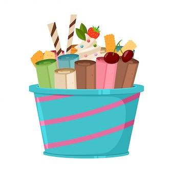 Tajlandzkie lody z goframi, ciasteczkami, wiśniami, truskawkami i cukierkami na patyku. ikona kreskówka na białym tle na białym tle.
