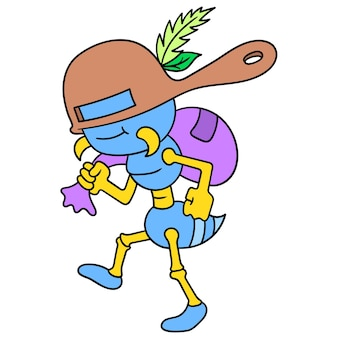 Tajne mrówki używają garnka do maskowania kradzieży jedzenia, ilustracji wektorowych. doodle ikona obrazu kawaii.
