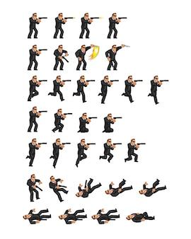 Tajny agent gra akcji animacja postaci sprite