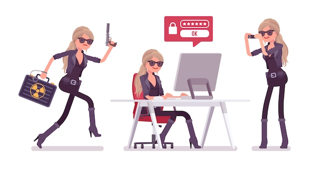 Tajny agent, pani szpieg wywiadu, obserwatorka odkrywa dane, zbiera informacje polityczne i biznesowe, prowadzi szpiegostwo korporacyjne przy komputerze. ilustracja kreskówka styl