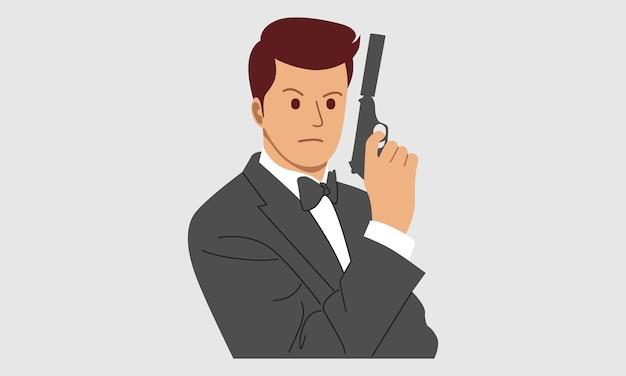 Tajny agent, szpieg, policjant, detektyw, ochroniarz z bronią