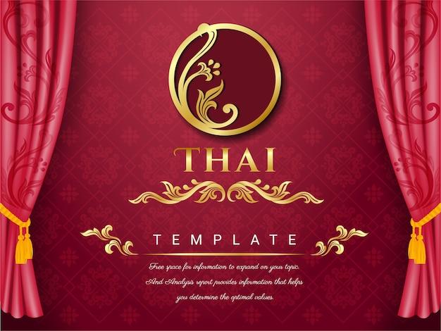 Tajska tradycyjna koncepcja, tło różowe zasłony.