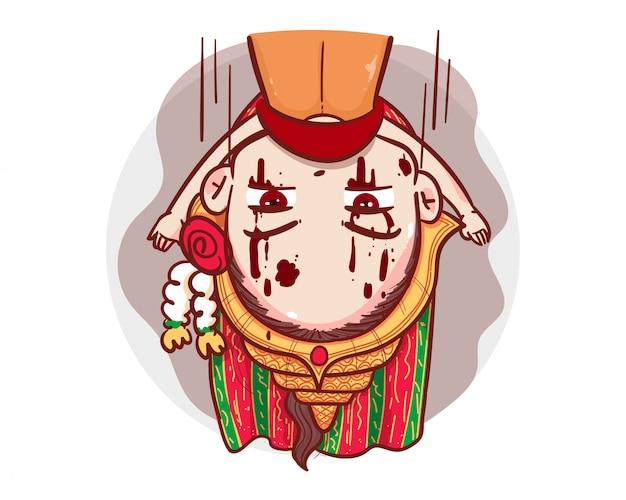 Tajski duch w tradycyjnym stroju, bawiący się w chowanego lub w chowanego na białym tle