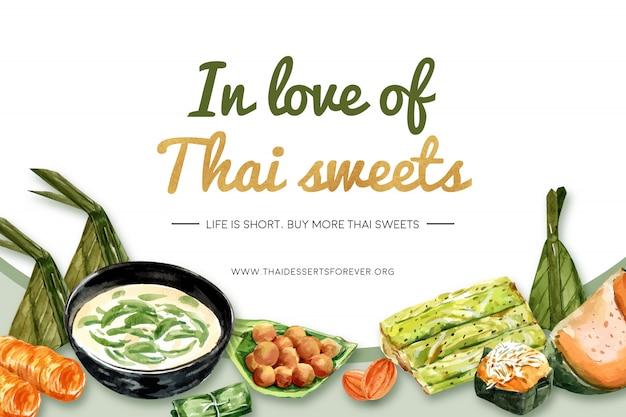 Tajski słodki transparent szablon z mini castella, gotowana na parze dynia ilustracja akwarela.