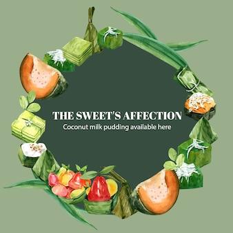 Tajski słodki wieniec z kremem jajecznym, imitacja owoców ilustracja akwarela.
