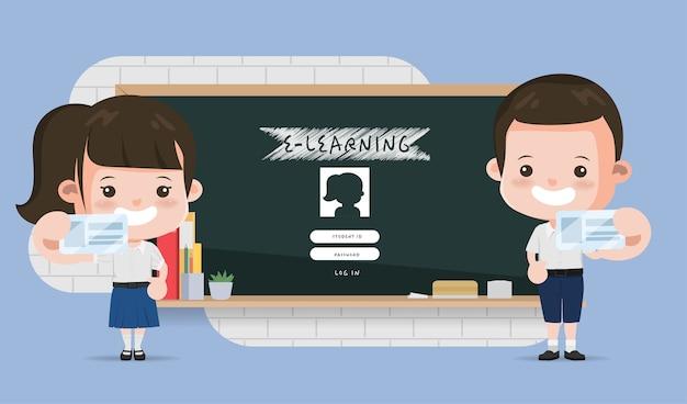 Tajski student prezentujący e-learningową szkołę edukacji online. projekt animacji liceum w bangkoku w tajlandii.