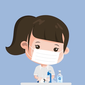 Tajski student zawsze myje ręce. siam bangkok school thailand bezpieczne