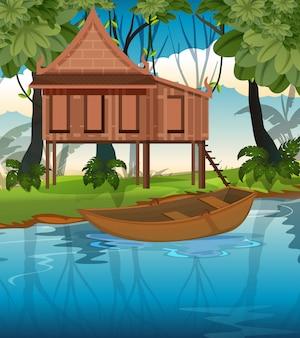 Tajski tradycyjny dom w przyrodzie