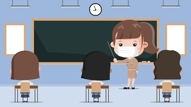 Tajski uczeń wraca do szkoły z nową, normalną koncepcją. siam bangkok school thailand jest bezpieczna przed covid-19.