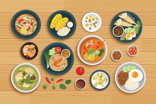 Tajskie jedzenie i składnik na drewnianym tle.