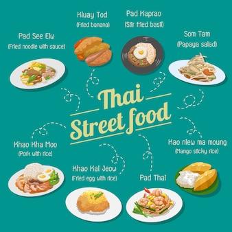 Tajskie jedzenie uliczne wektor zestaw kolekcji