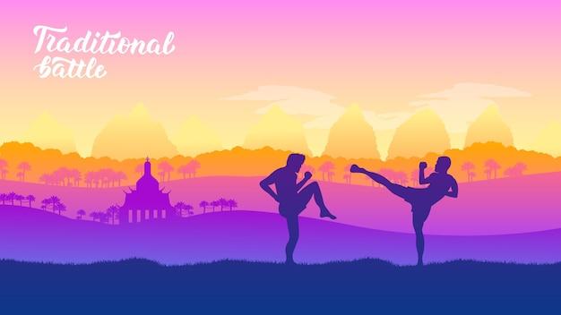 Tajskie sztuki walki wojowników różnych narodów świata. tradycyjne walki bez broni.