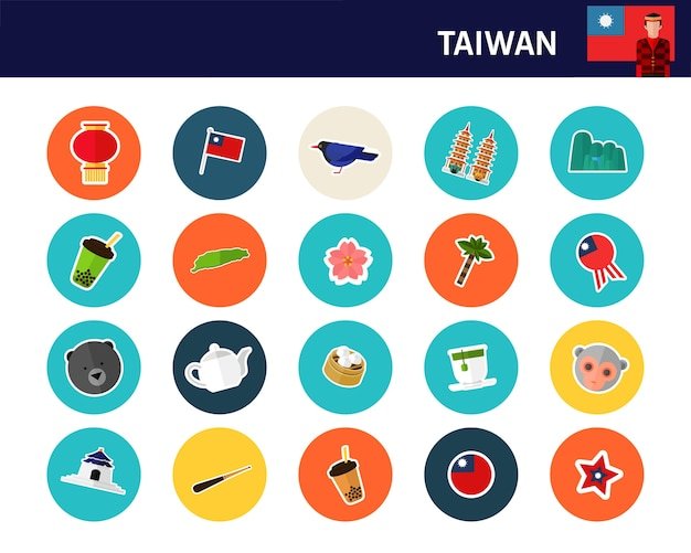 Tajwan koncepcja płaskie ikony