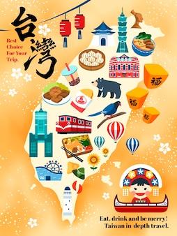 Tajwan mapa podróży, urocze atrakcje i specjalności na tajwanie oraz słowo szczęście zapisane w kaligrafii w lewym górnym rogu i latarnia na niebie