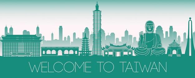 Tajwan sławny punkt orientacyjny zielony sylwetka projekt