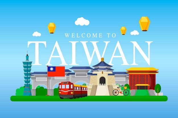 Tajwan słowo z ilustrowanymi punktami orientacyjnymi
