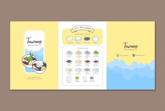 Tajwański deser handdrawn menu