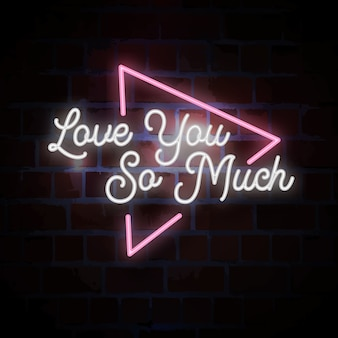 Tak bardzo cię kocham napis neonowy znak na walentynki