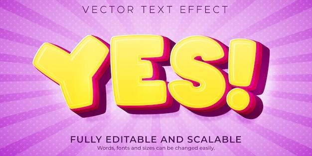 Tak, efekt tekstowy kreskówki, edytowalny komiks i zabawny styl tekstu