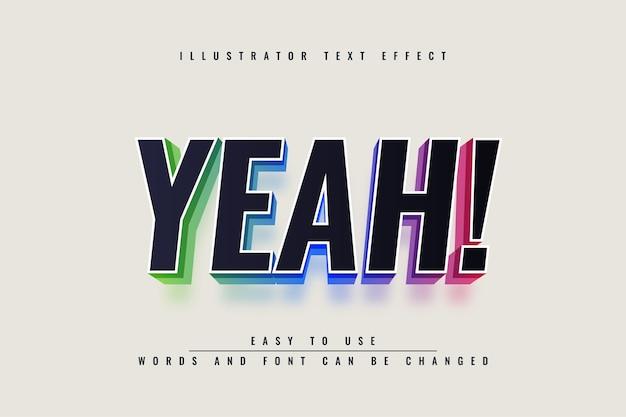 Tak! - ilustracja edytowalny efekt tekstowy 3d