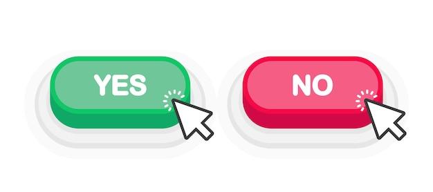 Tak lub nie zielony lub czerwony przycisk 3d w płaski na białym tle. ilustracja wektorowa.
