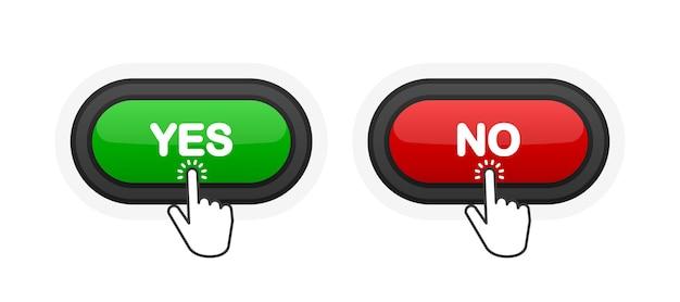 Tak lub nie zielony lub czerwony realistyczny przycisk 3d na białym tle. kliknął ręką. ilustracja wektorowa.