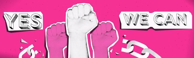 Tak, możemy koncepcja bannera w stylu kolażu. ręce kobiety. różowo-biało-czarny wzór. ilustracja wektorowa.