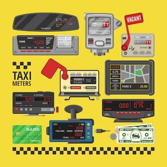 Taksometr taksówki wektorowej opłaty za przejazd taksówką samochodu przyrząd urządzenia pomiar ilustracja