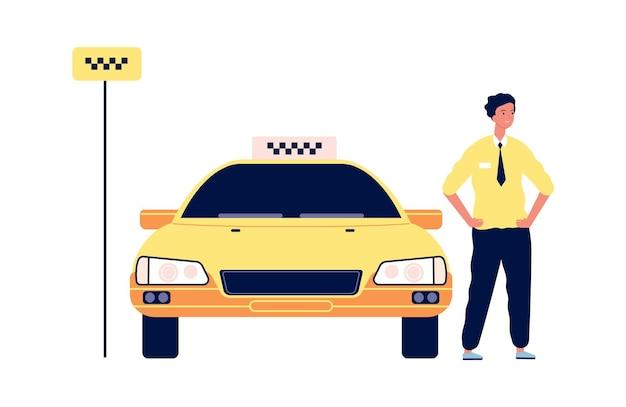 Taksówka. kierowca stoi w pobliżu żółtego samochodu. na białym tle szczęśliwy człowiek w pobliżu transportu miejskiego. ilustracja wektorowa postój taksówek