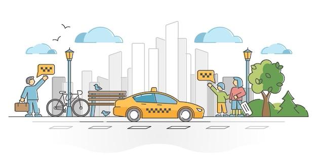 Taksówka lub taksówka jako transport pasażerów i bagażu w koncepcji zarysu miasta