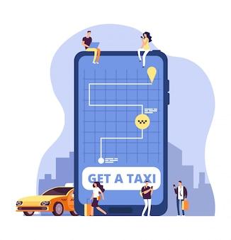 Taksówka mobilna. usługa taxi online i płatności za pomocą aplikacji na smartfony. ludzie zamawiający taksówkę na wielkim telefonie komórkowym.