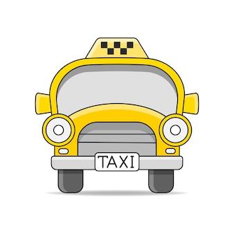 Taksówka samochodowa. płaskie ilustracja wektorowa na białym tle. ręcznie rysowane element projektu dla etykiety i plakatu