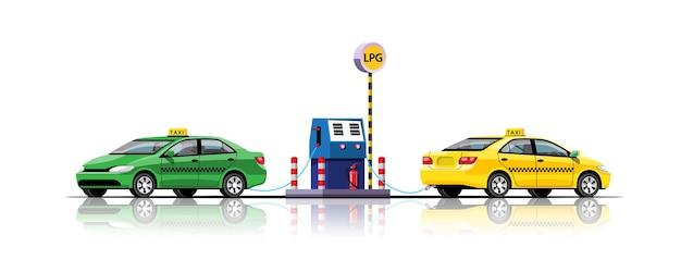 Taksówka tankująca energię na stacji lpg