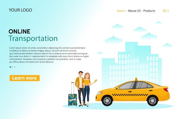 Taksówka. telefon komórkowy z aplikacją taxi i żółtą taksówką. osoby korzystające z internetowego zamówienia taksówki dzielą się aplikacją mobilną koncepcja transportu usługi aplikacji carsharing.